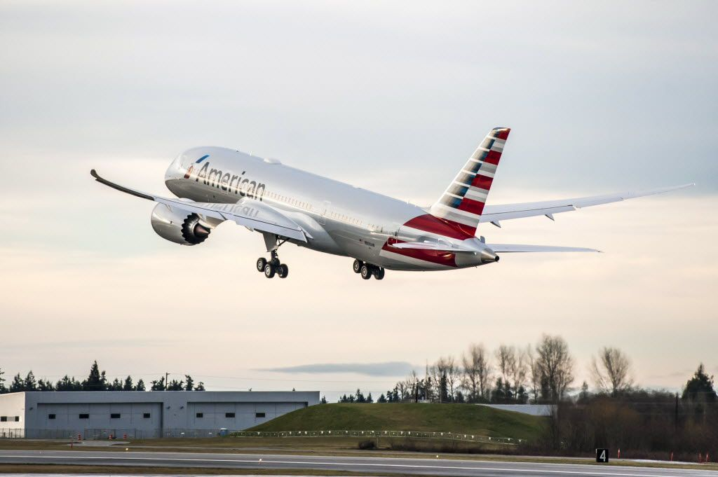 An American Airlines Boeing 787-8 takes off on a test flight in Seattle.
