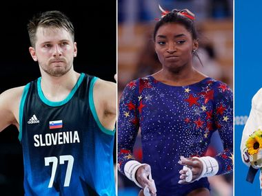 (Left to right): Luka Doncic, Simone Biles and Lydia Jacoby. (Photos from Vernon Bryant and The Associated Press).