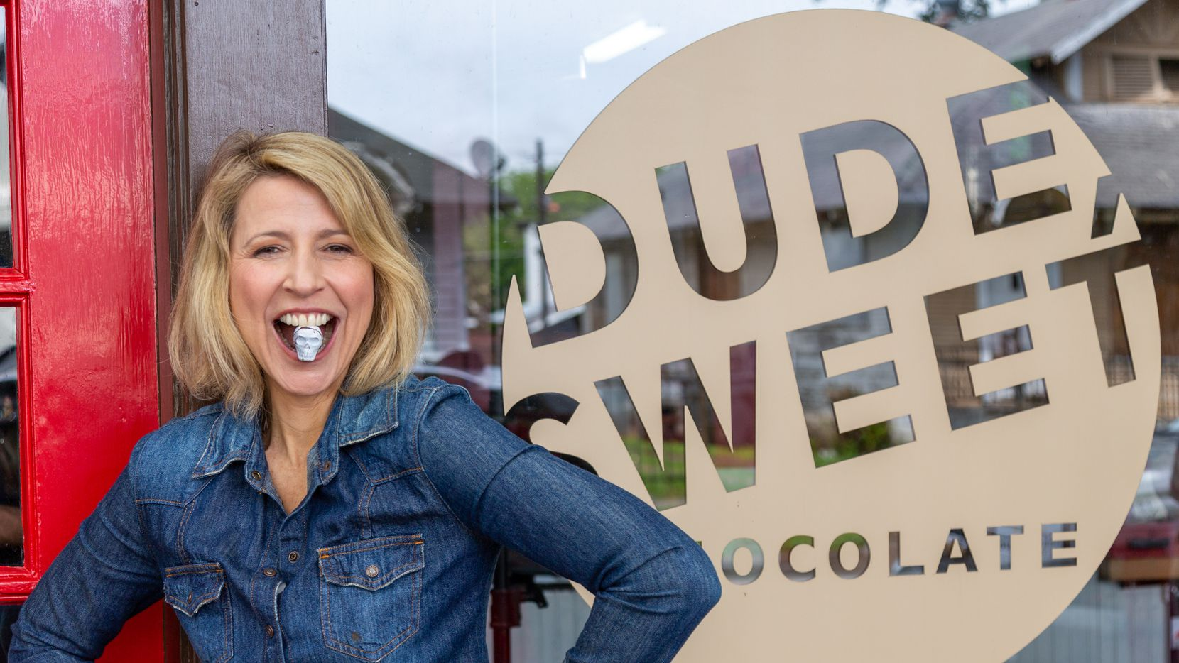 Television host Samantha Brown visits Dude, Sweet Chocolate in Dallas as part of her PBS show 'Places to Love.'