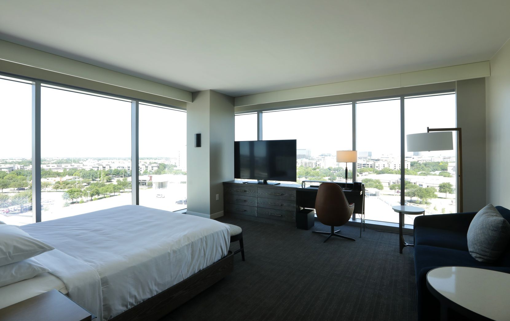 A bedroom at the Frisco Hyatt Regency.