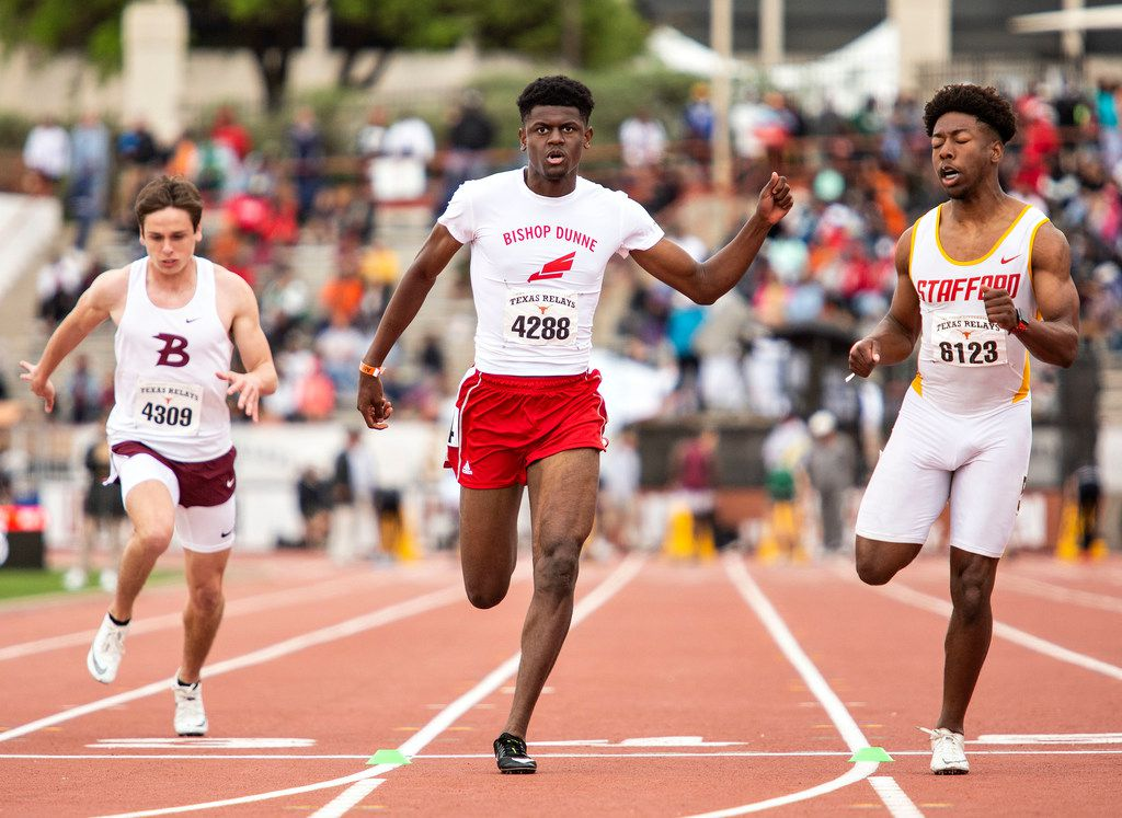 Bridgeport's Jadon Maddux (4309), Bishop Dunne'sÊCameron Miller (4288), and Stafford's Ryan Martin (6123) competed during the boys 100 meter dash Division I finals at the Texas Relays track meet at the Mike A. Myers Stadium, at the University of Texas on March 30, 2019 in Austin, Texas. (Thao Nguyen/Special Contributor)