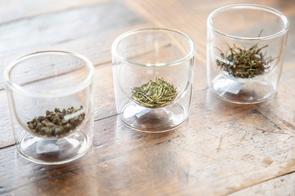 Glasses of loose-leaf tea at the tea tasting
