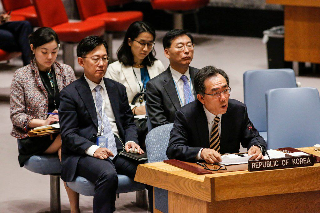 South Korean Ambassador to the UN Cho Tae-yul speaks at a UN Security Council emergency meeting over North Korea's latest missile launch, on September 4, 2017, at UN Headquarters in New York. The UN Security Council on Monday opened an emergency meeting to agree to a response to North Korea's sixth and most powerful nuclear test, as calls mounted for a new raft of tough sanctions to be imposed on Pyongyang. / AFP PHOTO / KENA BETANCURKENA BETANCUR/AFP/Getty Images