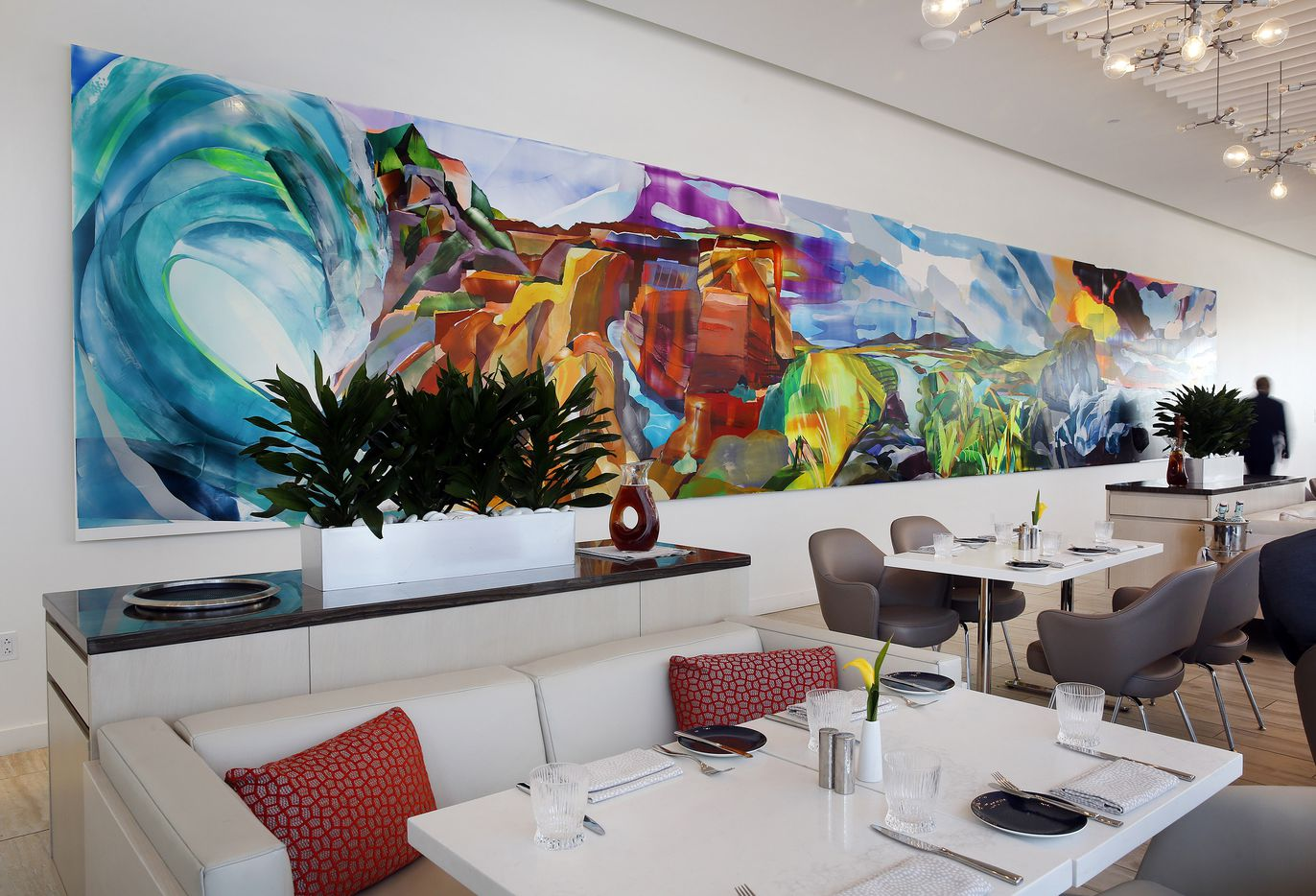 Spangled Ramparts mural by artist Kristin Baker is on display in Ellie's restaurant & lounge in Hall Arts Hotel, Friday, February 21, 2020.  The new hotel is in the Arts District of downtown Dallas.