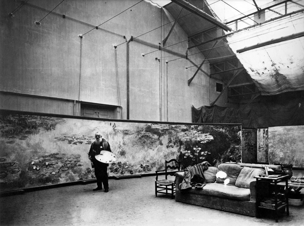 "Monet at work in his large studio, 1910. From ""Mad Enchantment,"" by Ross King."