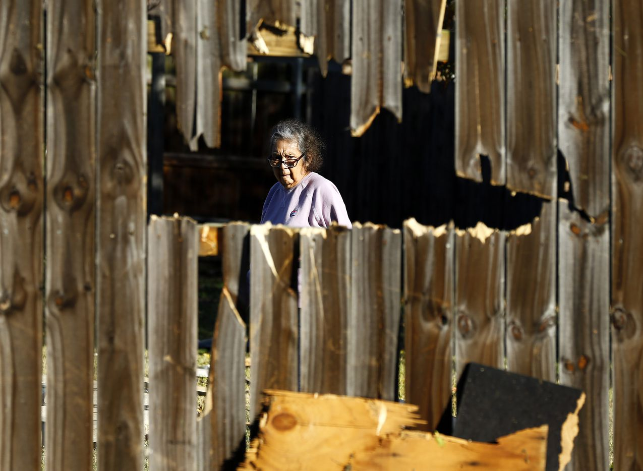 A woman looks through the hole in her fence as she inspects the damage in her yard following the tornado-warned storm Tuesday evening. City of Arlington street crews were cleaning up debris along Pioneer Parkway in Arlington, Wednesday, November 24, 2020.