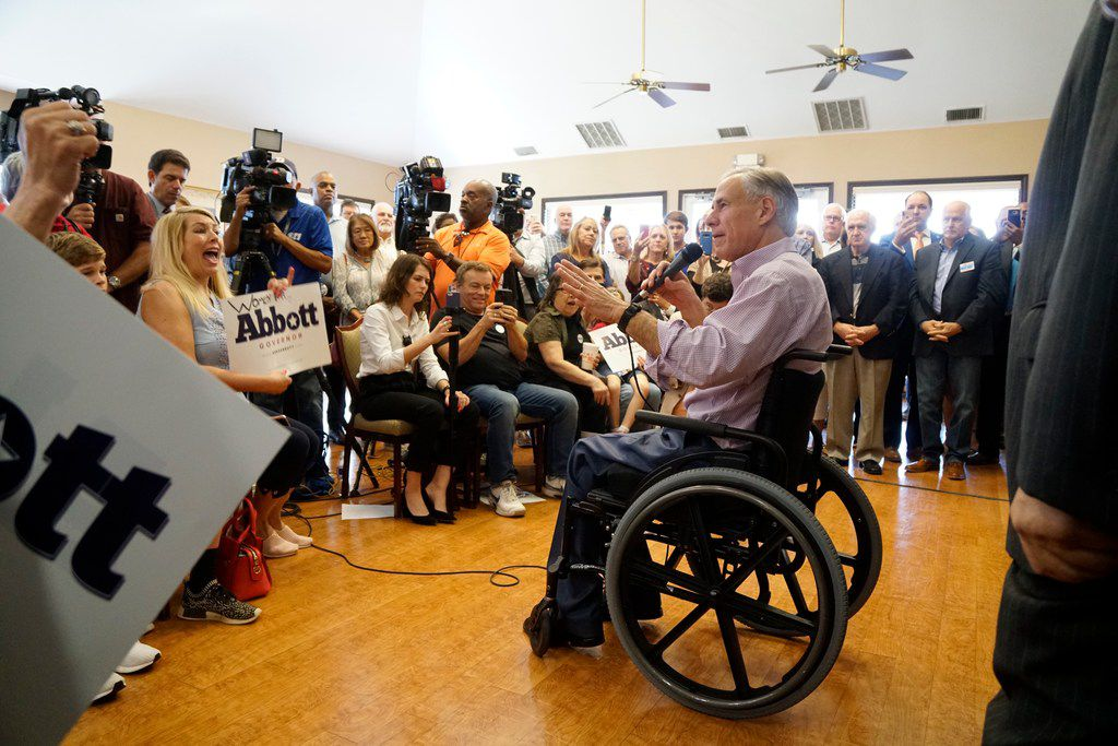 Governor Greg Abbott encourage supporters to vote early during a small rally at the Castle Hills Community Center in Lewisville, TX on Monday October 29, 2018.