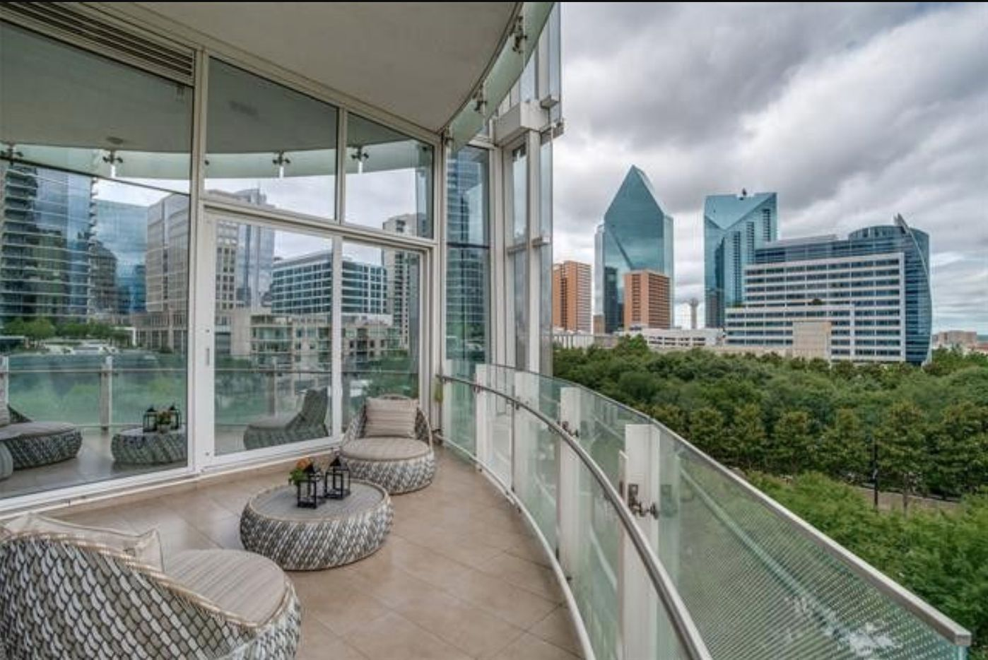 This more than 4,000-square-foot condo for sale at Museum Tower has a view of Klyde Warren Park.