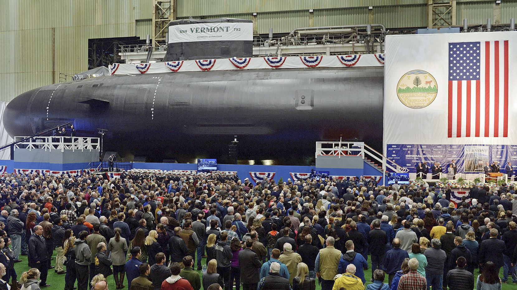 This Oct. 20, 2018, file photo shows the christening of the Navy's nuclear-powered attack submarine USS Vermont at General Dynamics Electric Boat in Groton, Conn.