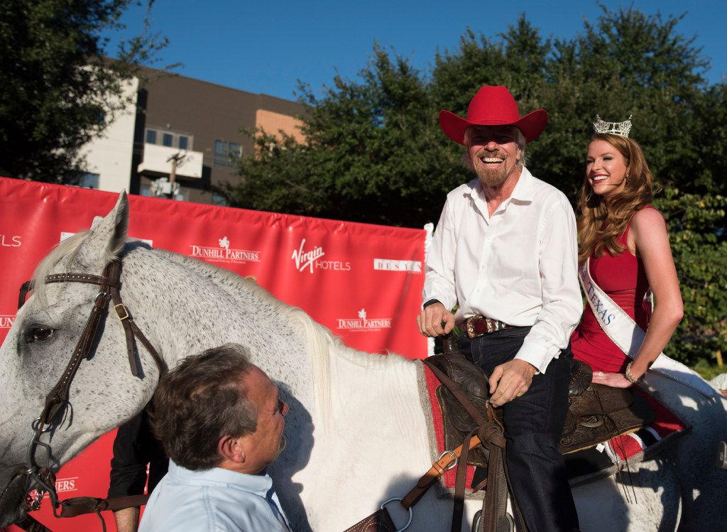 Richard Branson arrived at the ground breaking for his hotel in the Design District on a horse with Miss Texas Caroline Carothers Monday, Oct. 17, 2016   (Rex C. Curry/Special Contributor)