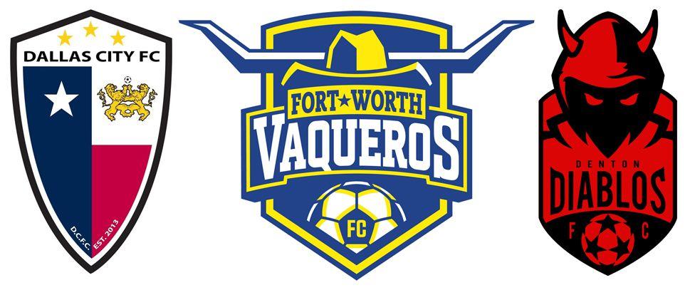 Three local NPSL sides L-R: Dallas City FC, Fort Worth Vaqueros FC, Denton Diablos FC.