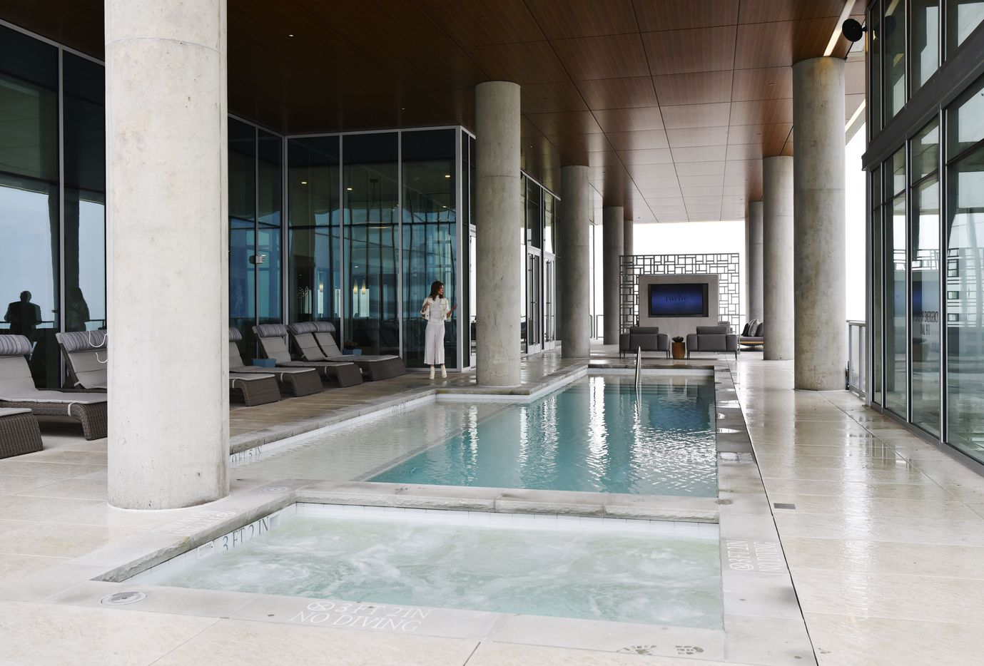 The sixth floor pool area at the Twelve Cowboys Way luxury residential tower at the Star in Frisco.