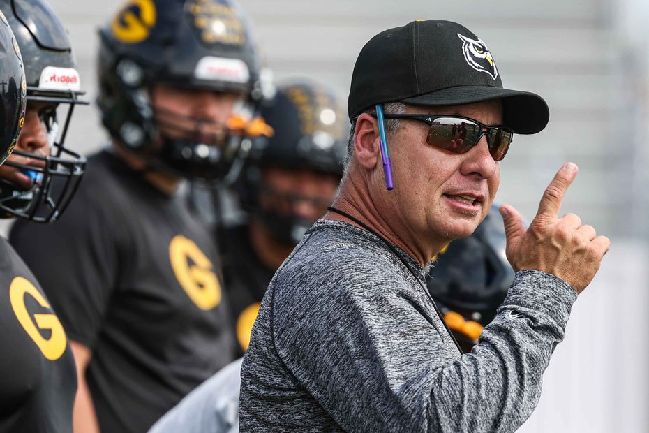 Danny Russell, Garland High School football team coach during practice in Garland on Wednesday, October 13, 2021. (Lola Gomez/The Dallas Morning News)