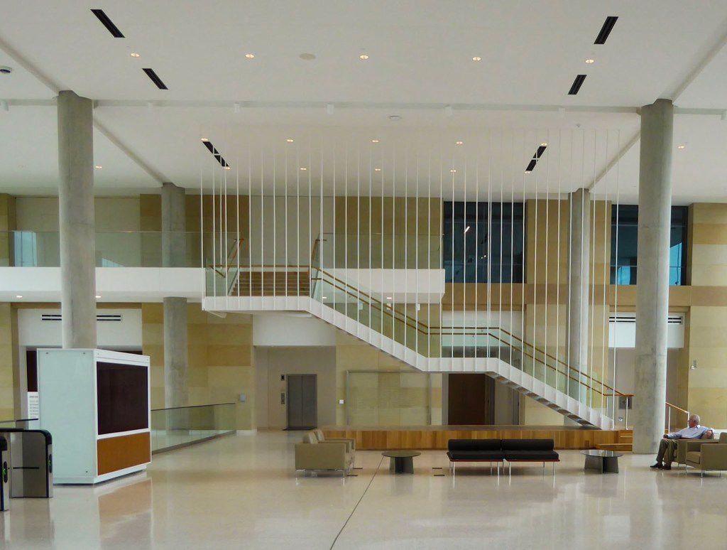 A staircase in the main lobby. Stairs are centrally located throughout to encourage collaboration and movement.