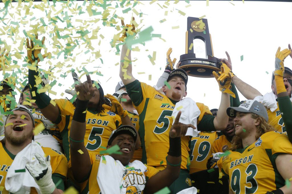 The North Dakota State Bison celebrate a win in January in the FCS Championship Game at Toyota Stadium in Frisco.