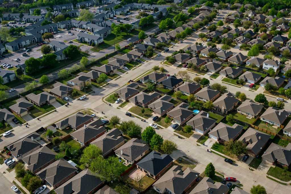 Aerial view of houses and apartments in the Red Bird area on Thursday, April 4, 2019, in Dallas.