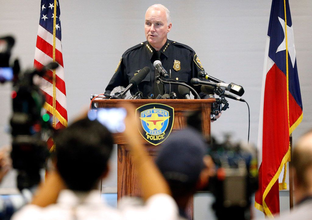Ed Kraus, Fort Worth's interim police chief at the time, spoke at a news conference after the death of Atatiana Jefferson, who was shot and killed by a Fort Worth officer.