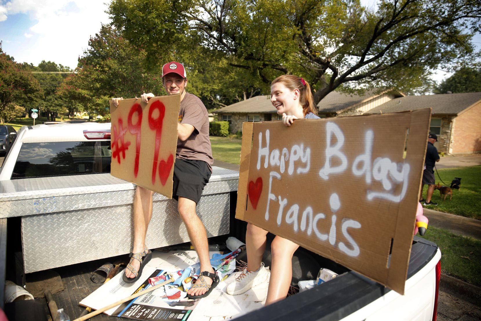 """Signs, birthday cards and friendly wishes were showered upon Dieter by folks young and old. """"You feel like he's your grandfather,"""" Dianne Doyle said."""""""