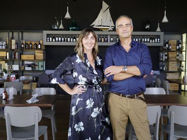 Loveria Caffè owners Stefania Bertozzi Matteucci (left) and Andrea Matteucci at their restaurant in Colleyville, Texas on Wednesday, August 19, 2020. (Lawrence Jenkins/Special Contributor)