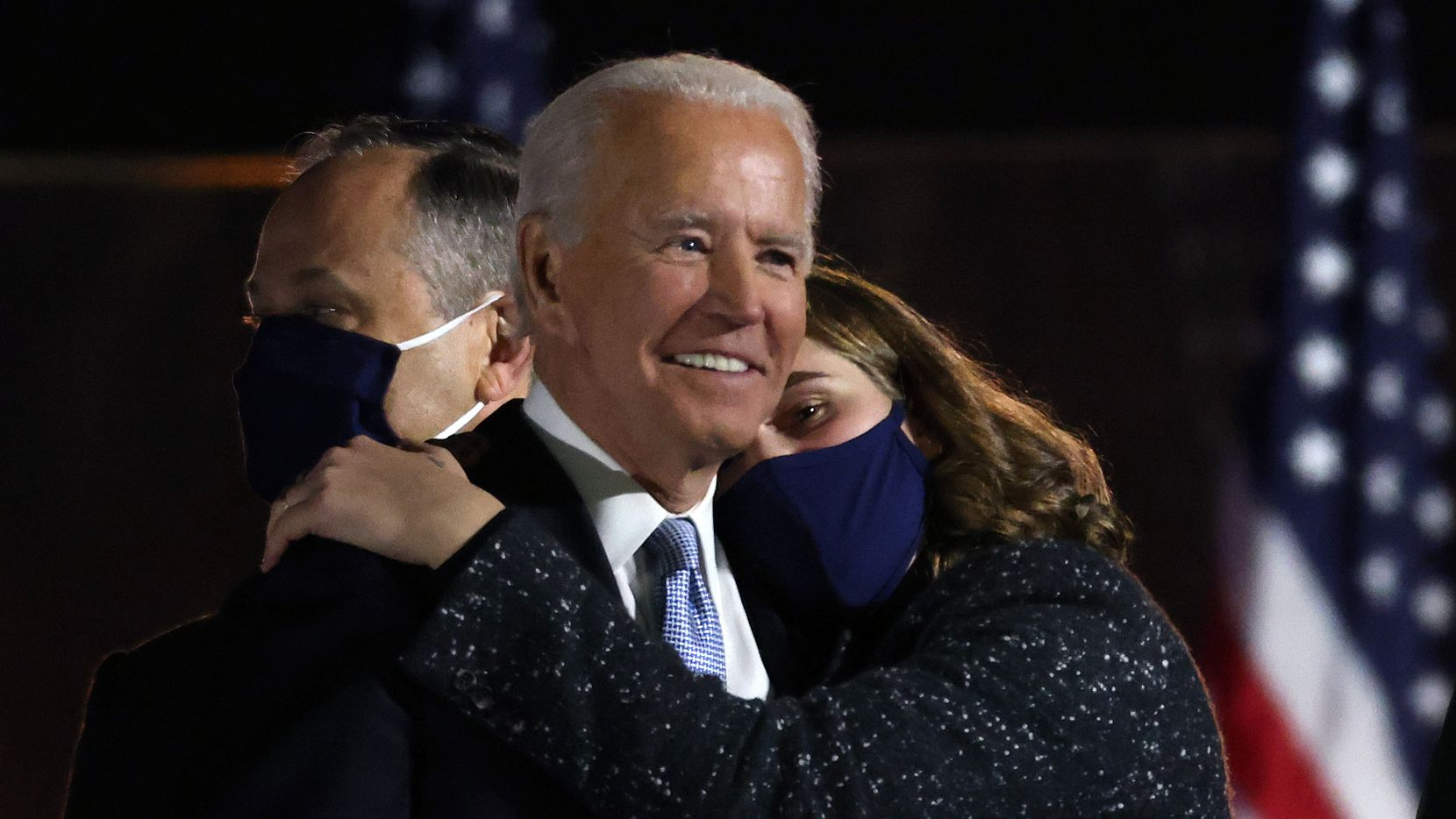 President-elect Joe Biden gets a hug from his granddaughter after delivering his victory address at the Chase Center Nov. 7, 2020 in Wilmington, Del. After four days of counting the high volume of mail-in ballots in key battleground states due to the coronavirus pandemic, Biden defeated President Donald Trump.