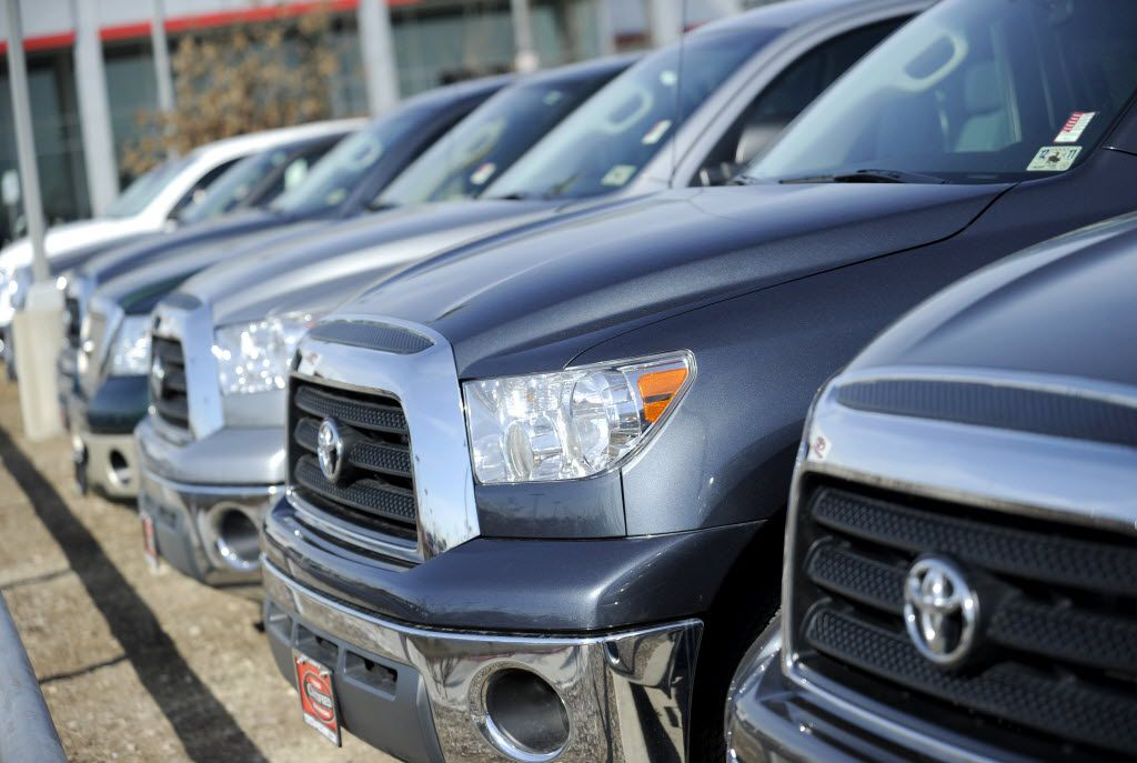 A row of used Toyota Tundras, January 26, 2011 at Pat Lobb Toyota and Scion in McKinney, Texas.  (Matt Strasen/Special Contributor)