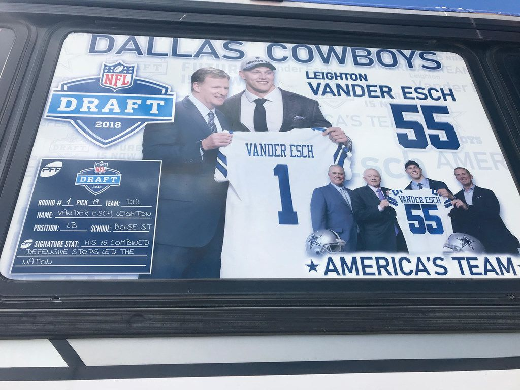 A sign on the window of the Vander Esch Express details the Boise State credentials of Cowboys rookie Leighton Vander Esch. Friends and family took the bus from his hometown of Riggins, Idaho, to Seattle for the Cowboys game against the Seahawks on Sept. 23, 2018.