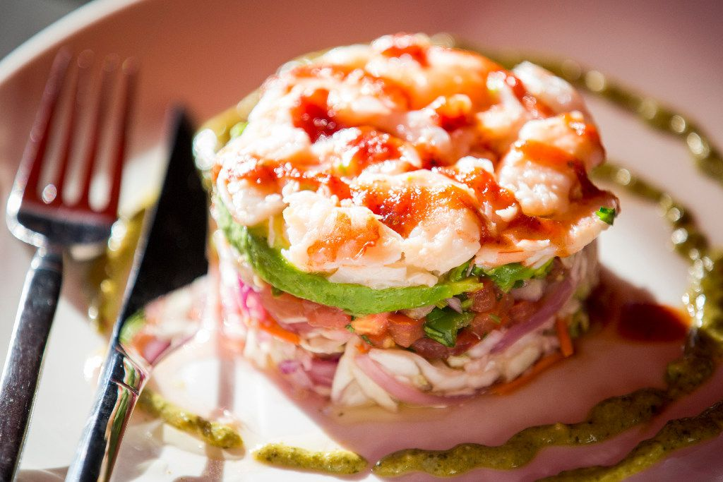 Beto & Son's Gulf of Mexico ceviche tower is artfully plated.