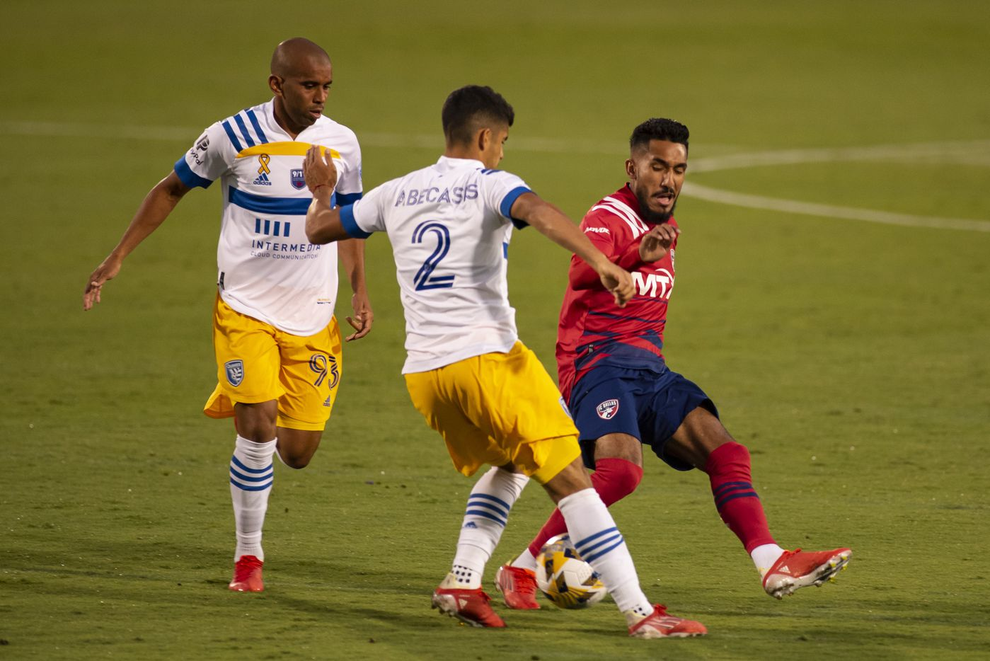 FC Dallas forward Jesus Ferreira (9) attempts to gain control of the ball against San Jose defender Luciano Abecasis (2) during FC DallasÕ home game against the San Jose Earthquakes at Toyota Stadium in Frisco, Texas on Saturday, September 11, 2021. (Emil Lippe/Special Contributor)