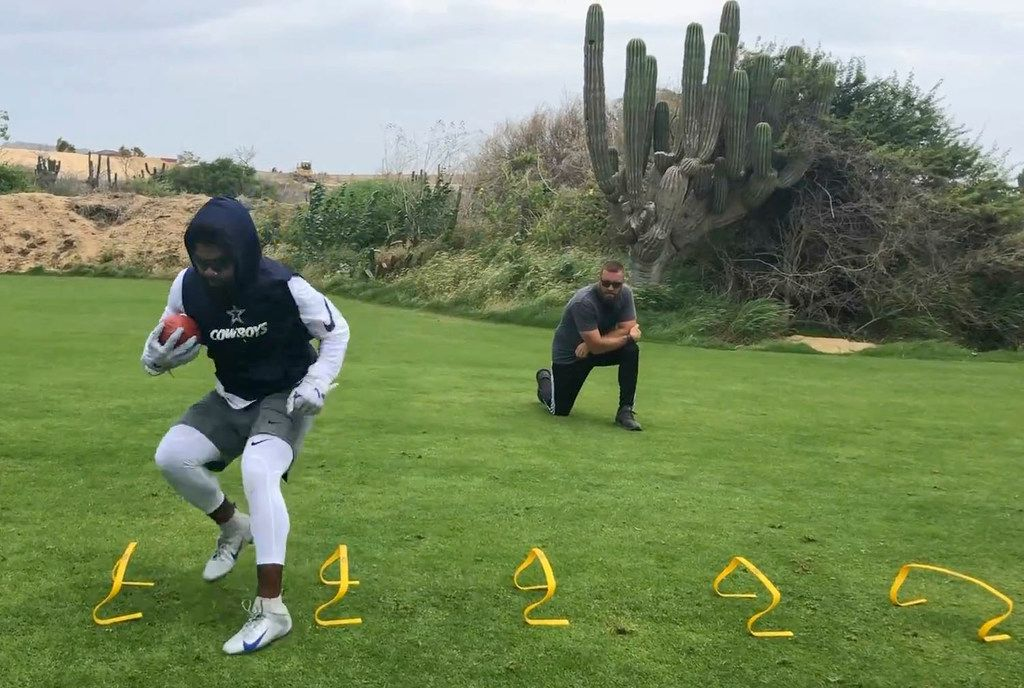 Screen grab from an undated video of Ezekiel Elliott training in Cabo San Lucas, Mexico during a contract holdout while the Dallas Cowboys were in training camp.