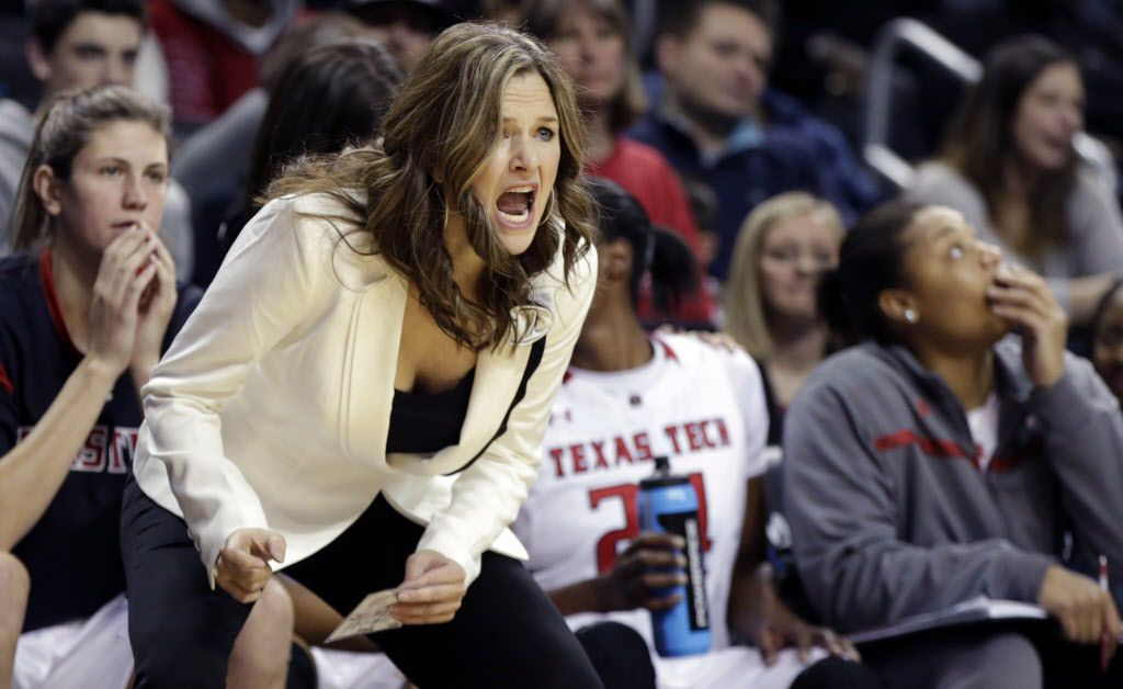 Texas Tech head coach Candi Whitaker yells instructions to her players in the waning seconds of their loss to Rutgers in an NCAA college basketball game in the consolation match of the Barclays Classic Women's Invitational, Saturday, Nov. 30, 2013, in New York. (AP Photo/Kathy Willens)