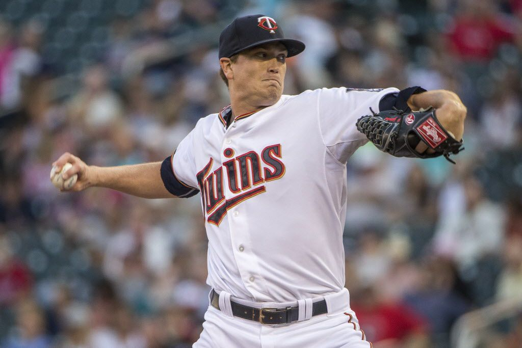 Aug 11, 2015; Minneapolis, MN, USA; Minnesota Twins starting pitcher Kyle Gibson (44) delivers a pitch in the first inning against the Texas Rangers at Target Field. Mandatory Credit: Jesse Johnson-USA TODAY Sports