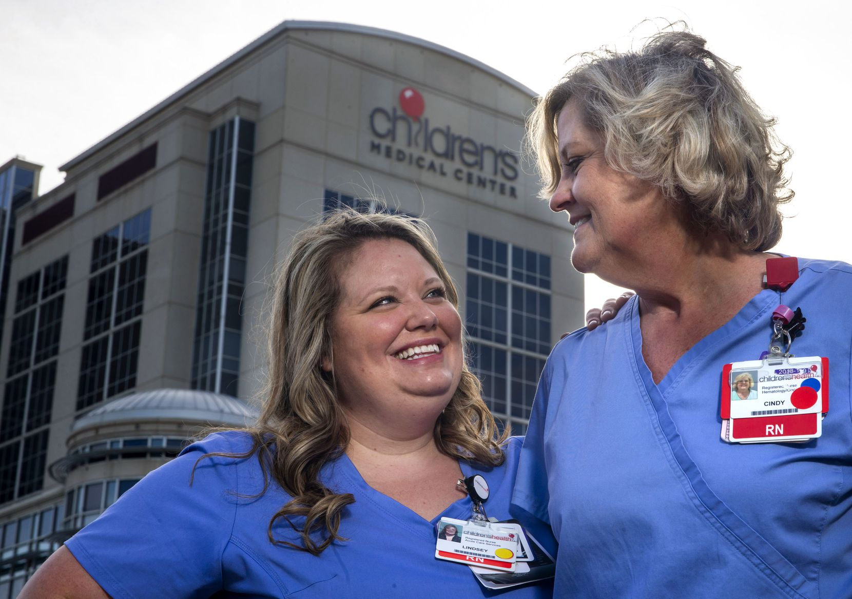 Lindsey Flores (left) and her mother, Cindy Flom, are not only family but also colleagues at Children's Medical Center Dallas. Flom's mother also was a nurse. Flores and Flom said they lean on each other for emotional support in their work.