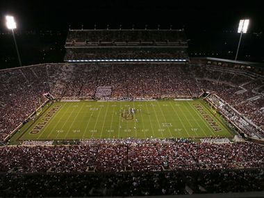 Oklahoma faces Louisiana Monroe in the third quarter of an NCAA college football game in Norman, Okla., during their home opener in their newly renovated stadium, Saturday, Sept. 10, 2016. The south end of the Gaylord Family - Oklahoma Memorial Stadium, at right, has been enclosed and is now a complete bowl. (AP Photo/Sue Ogrocki)
