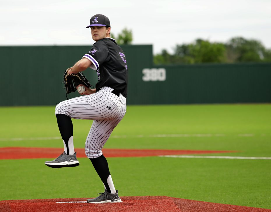 Rawley Hector warms up his pitching arm at Anna High School in Anna, TX, on May 4, 2021. (Jason Janik/Special Contributor)
