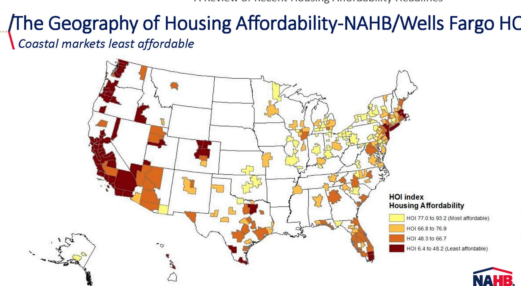 The cities with the dark brown colors are the most unaffordable for home buyers.