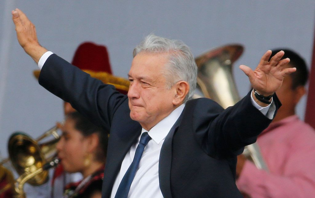 Mexico's President Andres Manuel Lopez Obrador arrives on July 1 at a rally to celebrate the one-year anniversary of his election, in Mexico City's main square, the Zocalo.