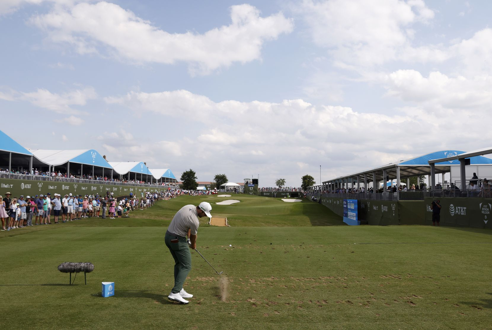 Sam Burns tees off on the 17th hole during round 3 of the AT&T Byron Nelson  at TPC Craig Ranch on Saturday, May 15, 2021 in McKinney, Texas. Burns finished the day in the lead with a -20. (Vernon Bryant/The Dallas Morning News)