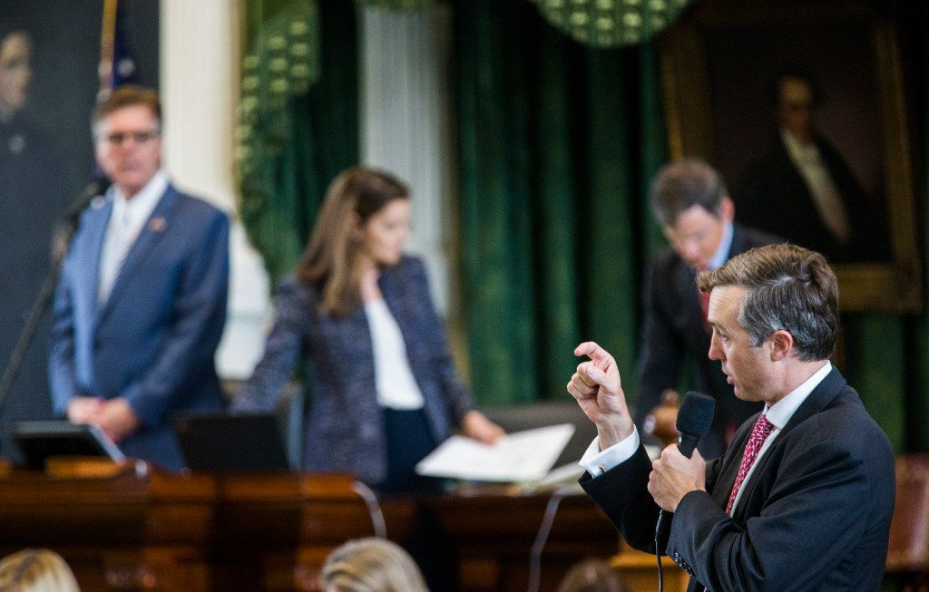 Sen. Van Taylor (right) answers questions about SB 20, the Sunset Act, during the second day of a special legislative session on Wednesday at the Texas Capitol in Austin.