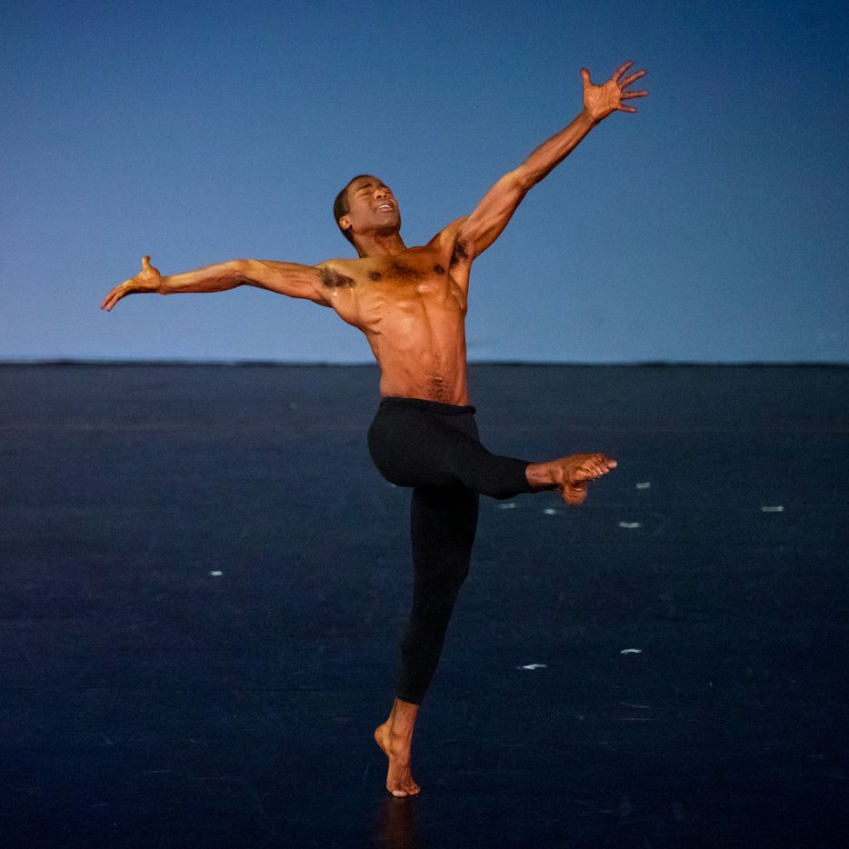 """Darrell Cleveland performs the dance, """"Motherless Child,"""" at the Majestic Theater in Dallas in 2002."""