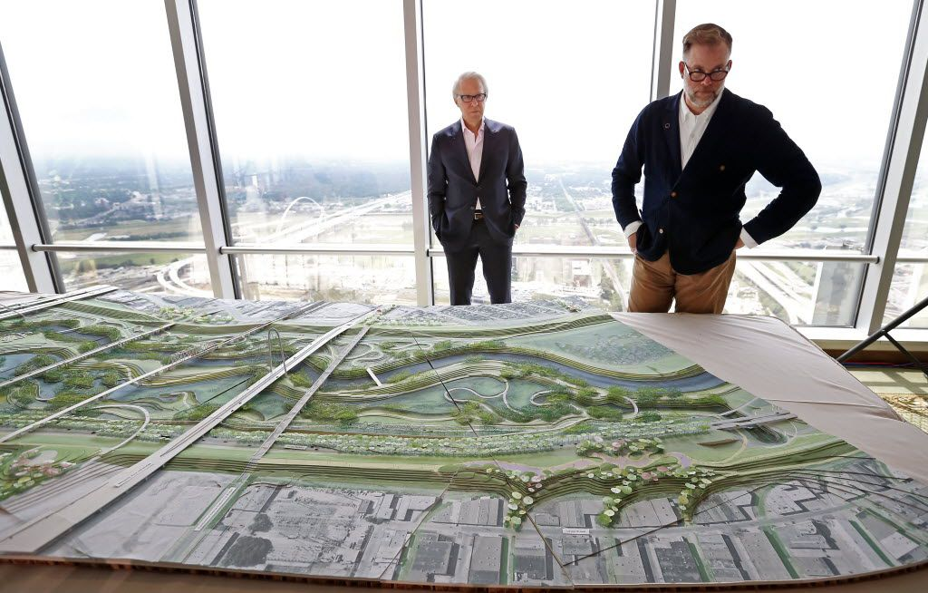 Brent Brown (right), architect and founding director of BC Workshop and Dallas CityDesign Studio, and John H. Alschuler, chairman of HR&A, are seen in an interview talking about a model of the Trinity River Park plan at the City Club in Dallas, Thursday, May 19, 2016. (Jae S. Lee/The Dallas Morning News)