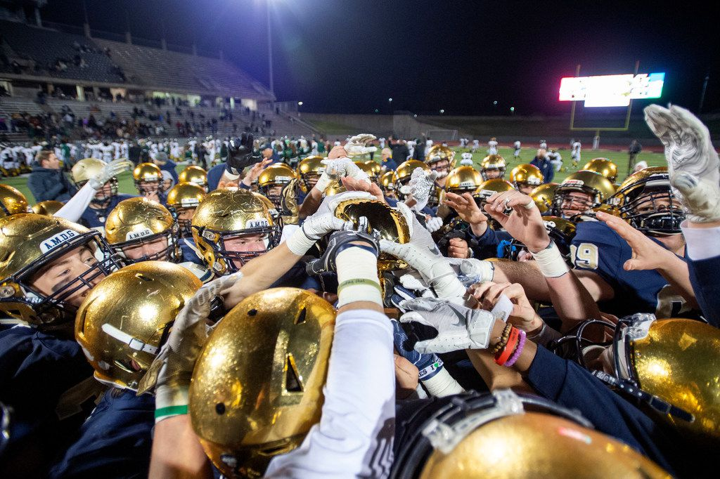 The Jesuit Rangers celebrate their 27-25 victory over defending state champions Longview in an area round high school football playoff game on Friday, November 22, 2019 at John Kincaide Stadium Dallas. (Jeffrey McWhorter/Special Contributor)