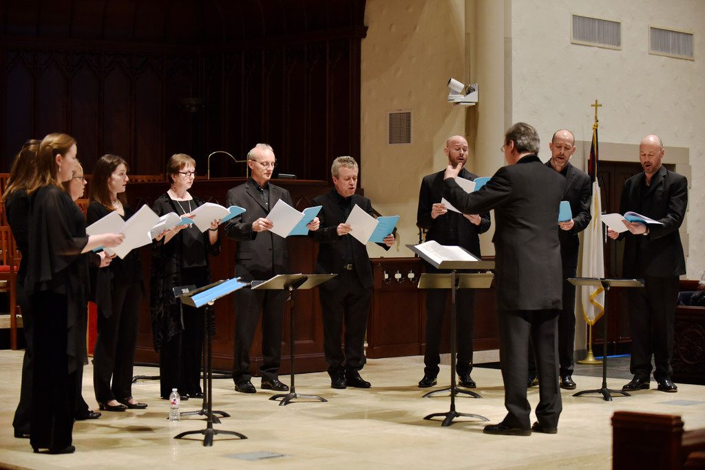 The Tallis Scholars, conducted by director Peter Phillips, perform a concert at Highland Park United Methodist Church in Dallas on March 31, 2019.