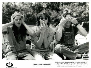 A publicity still from 1993's 'Dazed and Confused' shows actors Rory Cochrane, Jason London and Sasha Jenson.