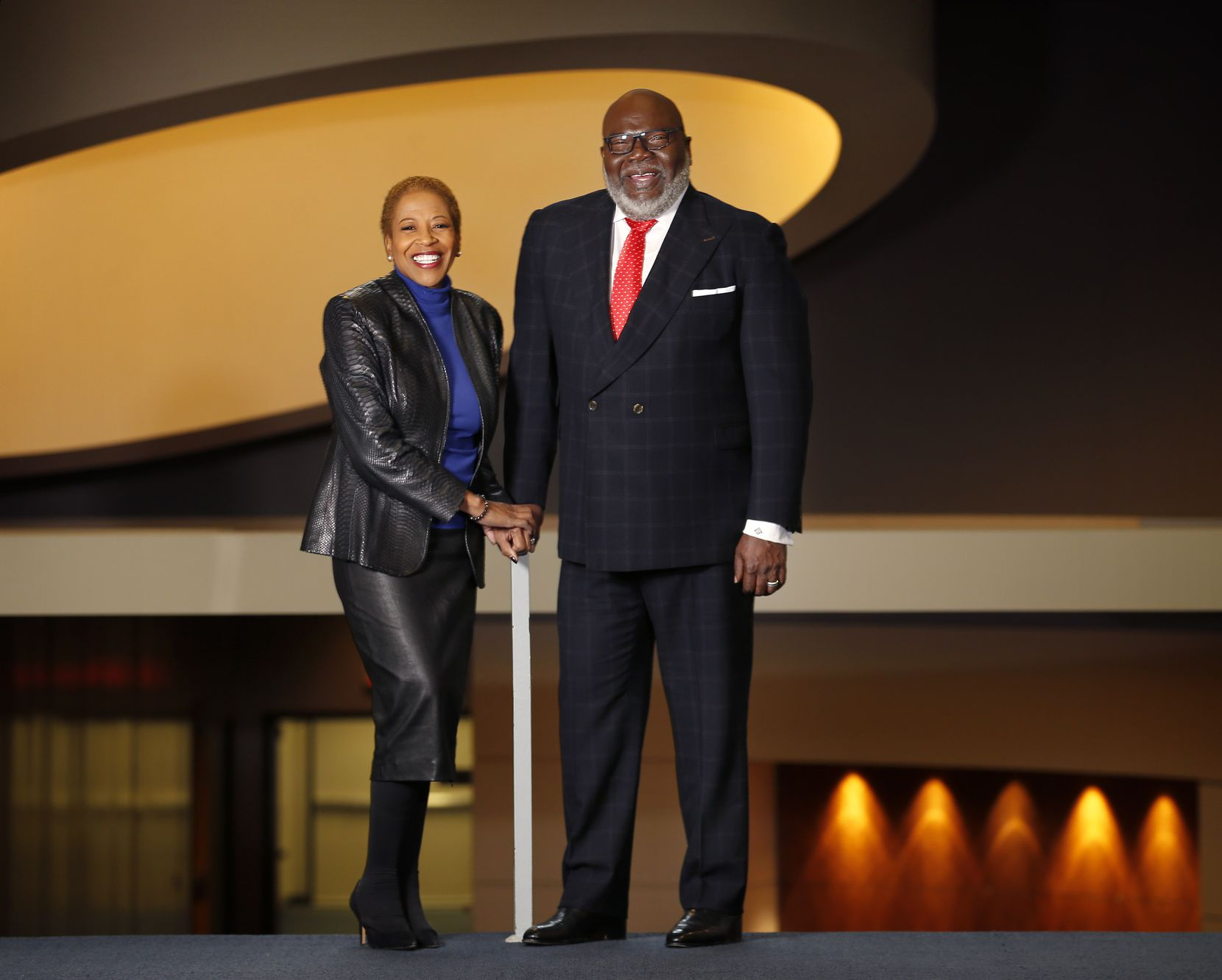 Dallas pastor T.D. Jakes (right) is shown with Hattie Hill at Potter's House as they announced the creation of a nonprofit foundation to promote education, workforce preparedness and job training in January.