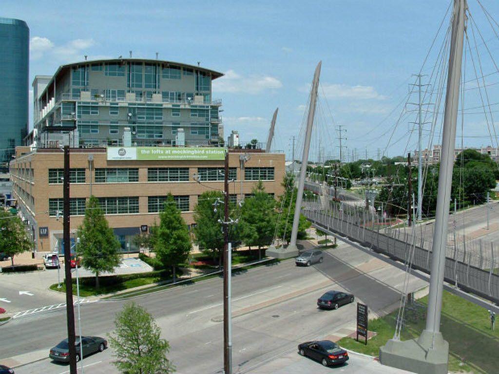 An artist's rendering shows how the Katy Trail pedestrian bridge will cross Mockingbird Lane near Central Expressway.