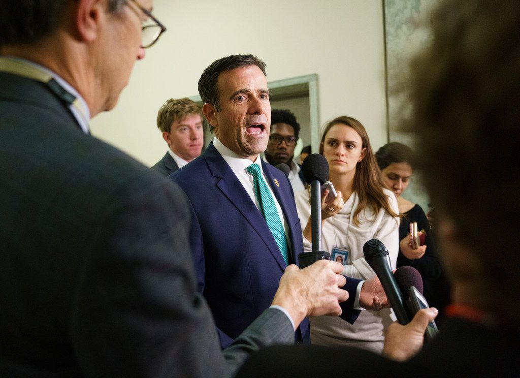 Rep. John Ratcliffe, R-Texas, speaks to media on Capitol Hill in Washington on Oct. 25, 2018.