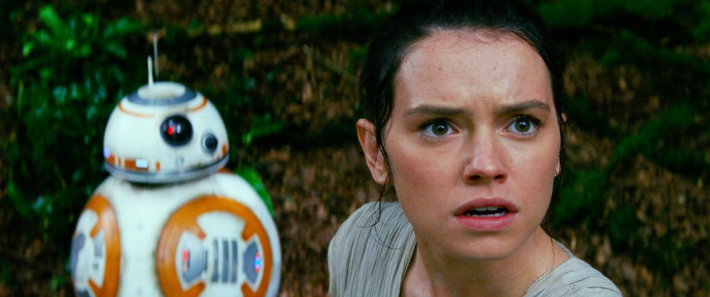 """Daisy Ridley, right, as Rey, and BB-8, in a scene from the film, """"Star Wars: The Force Awakens,"""" directed by J.J. Abrams."""