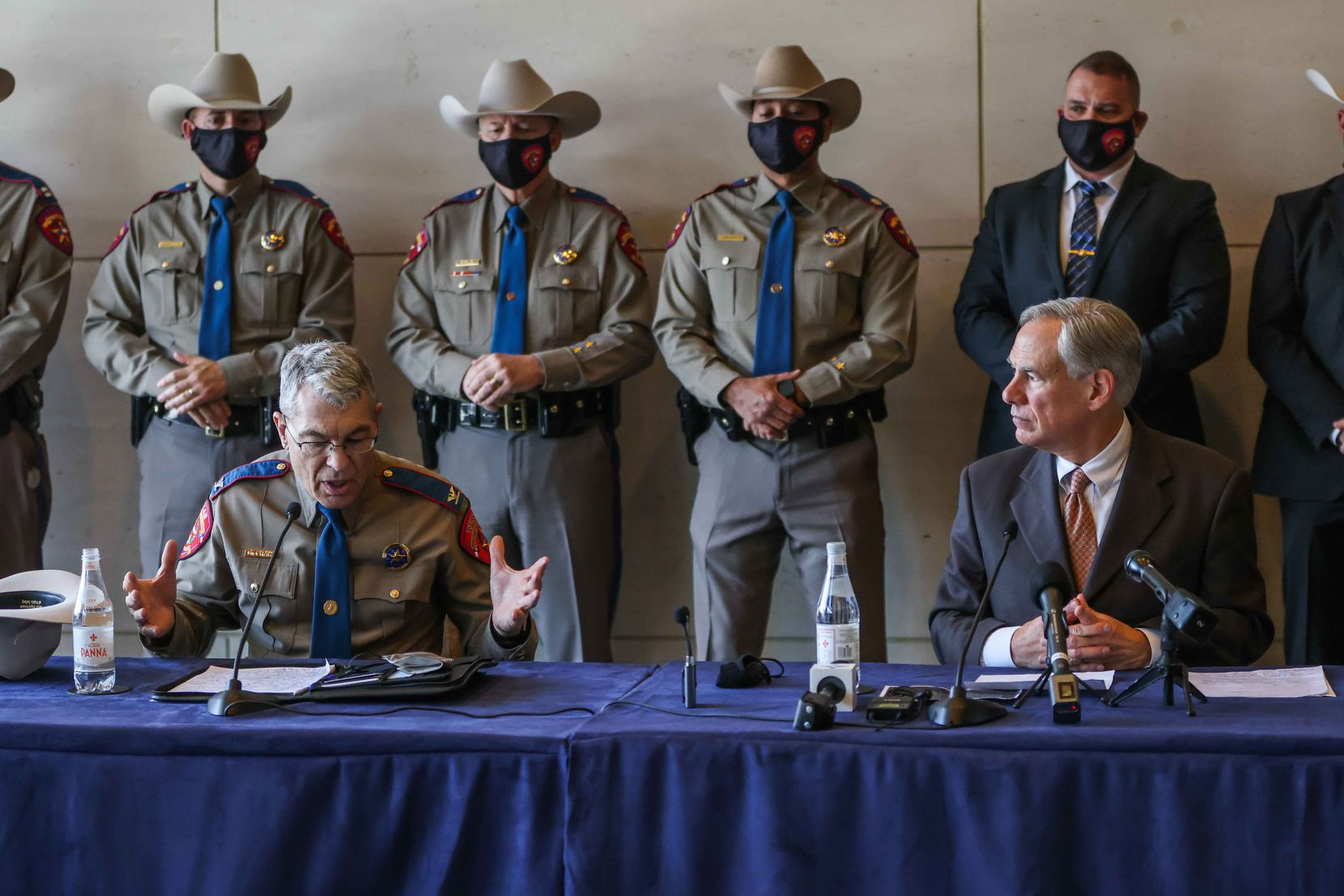 DPS chief Steve McGraw joined Gov. Greg Abbott during a news conference Wednesday in Dallas to address the arrival of immigrant teen boys from the border to the Kay Bailey Hutchison Convention Center. The convention center will serve as an emergency intake site to hold teens who have arrived at the U.S.-Mexico border starting Wednesday.
