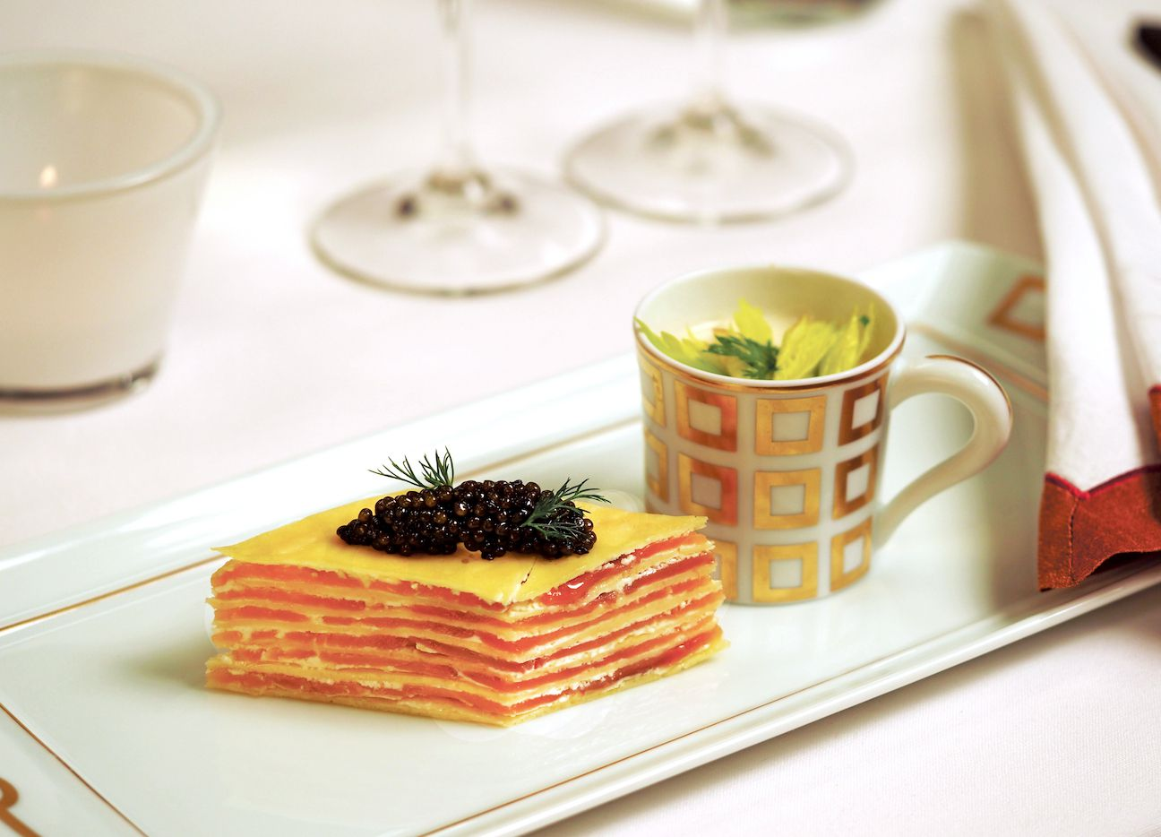 Smoked Salmon Mille-Feuille (layered salmon crepes) from chef Kelly Bianchi at Wynn Las Vegas