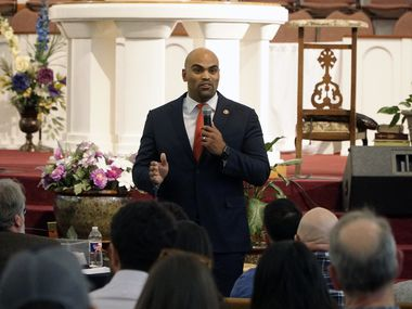 Rep. Colin Allred speaks during a town hall meeting at Greater Cornerstone Baptist Church in Dallas on Monday, Oct. 14, 2019.